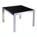Rapid glass coffee table black glass chrome frame 600 x 600mm