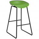 Rapidline aries bar stool black powder coated frame with polypropylene shell seat lime