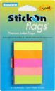 Stick-on index flags 15 x 50mm neon assorted colours