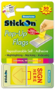 Stick on 15688 pop up flag sign here 45 x 25mm yellow
