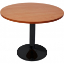 RAPIDLINE ROUND TABLE BLACK DISC BASE 900MM CHERRY