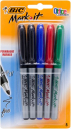 Bic mark-it fine markers standard colours pack 5