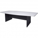 RAPID WORKER BOAT SHAPED BOARDROOM TABLE IRONSTONE BASE 2400 X 1200MM WHITE/IRONSTONE