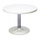 Rapidline round table 600mm chrome base white top