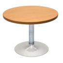 RAPID WORKER CHROME BASE ROUND COFFEE TABLE 425 X 600MM BEECH/IRONSTONE