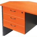 Rapid worker desk pedestal fixed 3 box drawers lockable 465 x 447 x 454mm cherry/ironstone