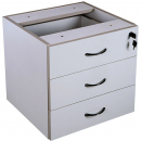 RAPID VIBE DESK PEDESTAL FIXED 3 BOX DRAWERS LOCKABLE 465 X 447 X 454MM GREY