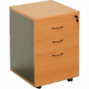 RAPID WORKER MOBILE PEDESTAL 3 DRAWERS LOCKABLE 690 X 465 X 447MM CHERRY/IRONSTONE