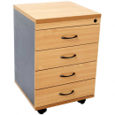 RAPID WORKER MOBILE PEDESTAL 4 DRAWERS LOCKABLE 690 X 465 X 447MM BEECH/IRONSTONE