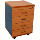 RAPID WORKER MOBILE PEDESTAL 4 DRAWERS LOCKABLE 690 X 465 X 447MM CHERRY/IRONSTONE