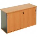 Rapid worker sliding door credenza 1800 x 450 x 730mm beech/ironstone