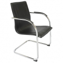 COMFO VISITORS CHAIR CHROME FRAME CANTILEVER BASE BLACK