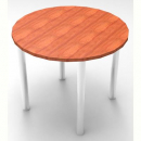 RAPID WORKER ROUND CHROME LEG TABLE 900MM CHERRY