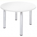 RAPID WORKER ROUND CHROME LEG TABLE 900MM WHITE