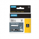 Dymo 18488 rhino label tape 12mm flexible nylon black on white