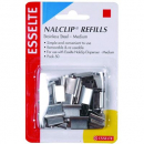 Esselte nalclip refills medium stainless steel pack 50