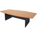 RAPID WORKER BOAT SHAPED BOARDROOM TABLE IRONSTONE BASE 2400 X 1200MM BEECH/IRONSTONE