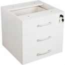 RAPID VIBE DESK PEDESTAL FIXED 3 BOX DRAWERS LOCKABLE 465 X 447 X 454MM WHITE