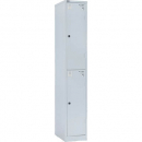Go steel locker 2 door 305 x 455 x 1830mm with butterfly lock silver grey
