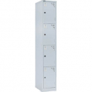 Go steel locker 4 door 305 x 455 x 1830mm with butterfly lock silver grey