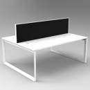 RAPID INFINITY 2 PERSON DOUBLE SIDED MODULAR LOOP LEG WORKSTATIONS WITH SCREENS 1500 X 700MM WHITE
