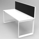 RAPID INFINITY 1 PERSON SINGLE SIDED MODULAR LOOP LEG WORKSTATIONS WITH SCREENS 1200 X 700MM WHITE