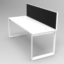RAPID INFINITY 1 PERSON SINGLE SIDED MODULAR LOOP LEG WORKSTATIONS WITH SCREENS 1500 X 700MM WHITE