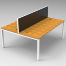 RAPID INFINITY 2 PERSON DOUBLE SIDED MODULAR STRIGHT LEG WORKSTATIONS WITH SCREENS 1500 X 700MM BEECH