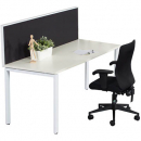 Rapid infinity 1 person single sided modular profile leg workstation with screens 1200 x 700mm white