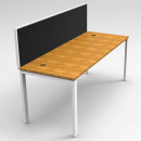 Rapid infinity 1 person single sided modular profile leg workstation with screens 1500 x 700mm beech