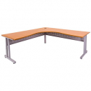 Rapid span c leg corner desk metal modesty panel 1800 x 1500 x 700mm beech/silver