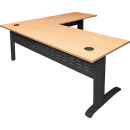 Rapid span desk and return metal modesty panel 1800 x 700mm / 1100 x 600mm beech/black