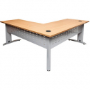 Rapid span desk and return metal modesty panel 1800 x 700mm / 1100 x 600mm beech/silver