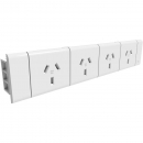 RAPIDLINE ROTATED QUAD POWER MODULE TO SUIT RAPID PARAMOUNT CABLE TRAY WHITE