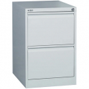 Go steel filing cabinet 2 drawer 460 x 620 x 705mm silver grey