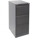 Go steel filing cabinet 3 drawer 460 x 620 x 1016mm graphite ripple
