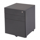 GO STEEL MOBILE PEDESTAL STEEL 3 DRAWERS 610 X 450 X 500MM BLACK RIPPLE
