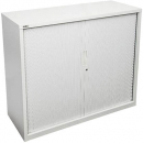 Go steel tambour door cupboard 2 shelves 900 x 473 x 1016mm white china