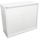 Go steel tambour door cupboard 2 shelves 900 x 473 x 1200mm white china