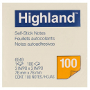 Highland self-stick notes 76 x 76mm yellow100 sheets per pad, pack of 12 pads