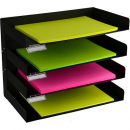 Italplast 4 tier metal desk organiser black