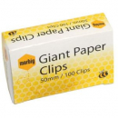 Marbig paper clips giant round 50mm box 100