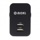 Moki dual usb wall charger black