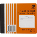 Olympic 714 receipt book carbonless duplicate 125 x 100mm 50 leaf