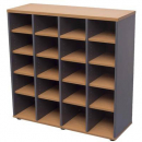 Rapid worker pigeon hole unit 20 hole 1040 x 1040 x 380mm beech/ironstone