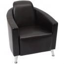 Pluto lounge sofa single seat chrome base black
