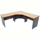 Rapid worker complete corner desk 1200 x 2100 x 600mm beech/ironstone