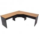 Rapid worker complete corner desk 1500 x 1500 x 600mm beech/ironstone