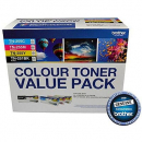 Brother tn-251bk and tn-255 colour laser toners, contains black, cyan, magenta, and yellow