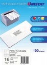 Unistat 38942 multipurpose label 16 per sheet 99x34mm box 100 sheets